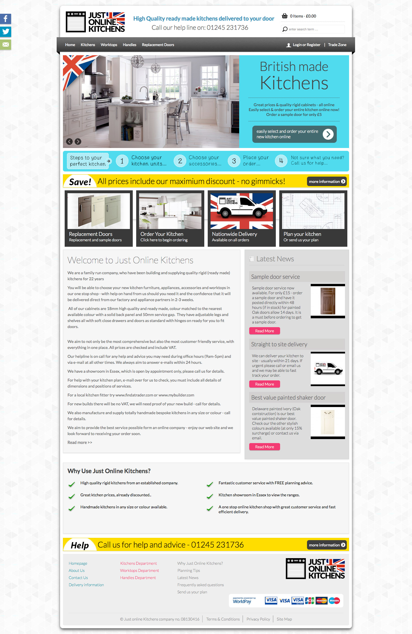 Just Online Kitchens Homepage design